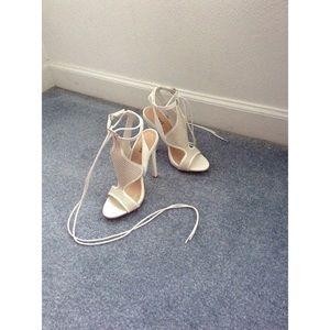 Just Fab white tie heels
